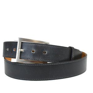 Authentic HERMES Logo Buckle Belt Leather Gray